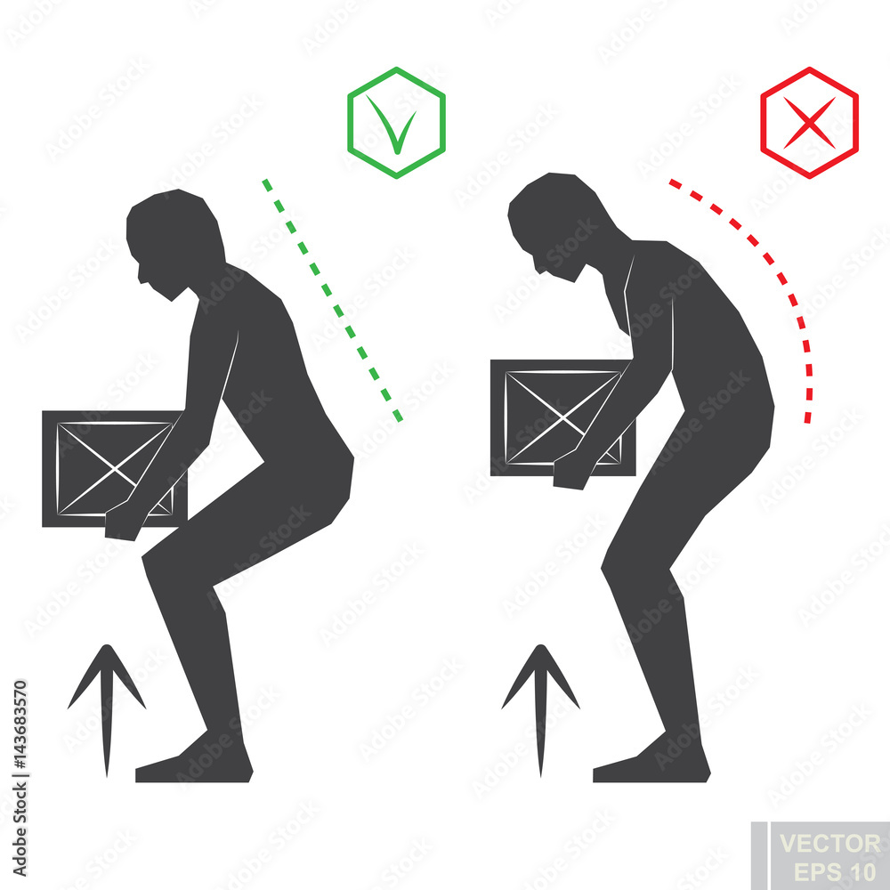 Fototapety, obrazy: black man silhouette correct back position, vector lifting illustration right person posture