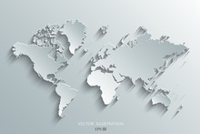 World Map Paper On A Gray Background.