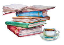 Watercolor Illustration With Books And A Cup Coffee On White Background. It Can Be Used For Print Card, Postcard, Cover, Invitation, Birthday Card, Knowledge Day