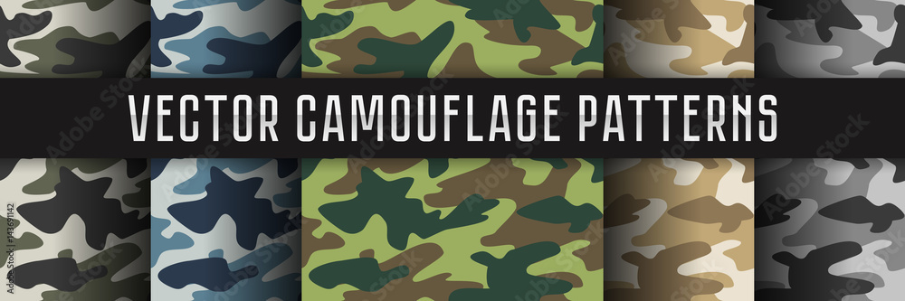Fototapeta Vector seamless camouflage patterns.