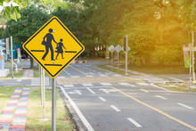 Students Crossing Ahead Sign