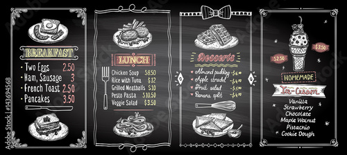 Stampa su Tela Breakfast, lunch, desserts and ice-cream chalkboard menu template