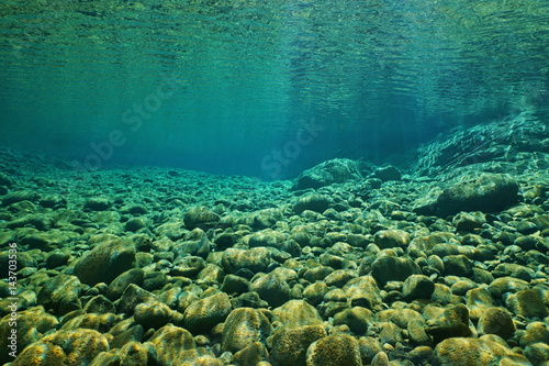 Foto auf Gartenposter Fluss River pebbles underwater on the riverbed with clear freshwater and sunlight through water surface, natural scene, Dumbea, New Caledonia, south Pacific