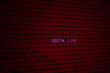 glowing red binary code on screen with words digital love background concept