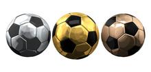 Golden Silver And Bronze Soccer Football Balls. 3d Rendering