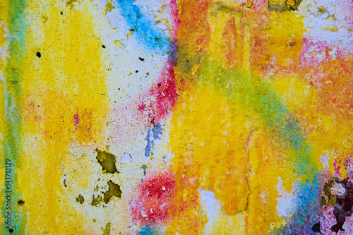 Fotobehang Graffiti The texture of the cement surface in the remains of the different colors, vintage