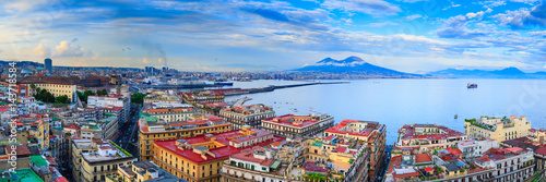 Garden Poster Napels Panoramic seascape of Naples, view of the port in the Gulf of Naples, Torre del Greco, and Mount Vesuvius. The province of Campania. Italy.