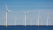 Offshore Farm Windturbines Near Dutch Coast