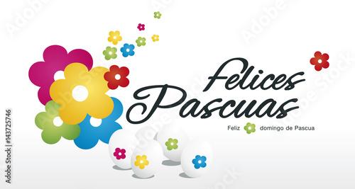 Hy Easter Egg Hunt Color Flower White Background Spanish Text