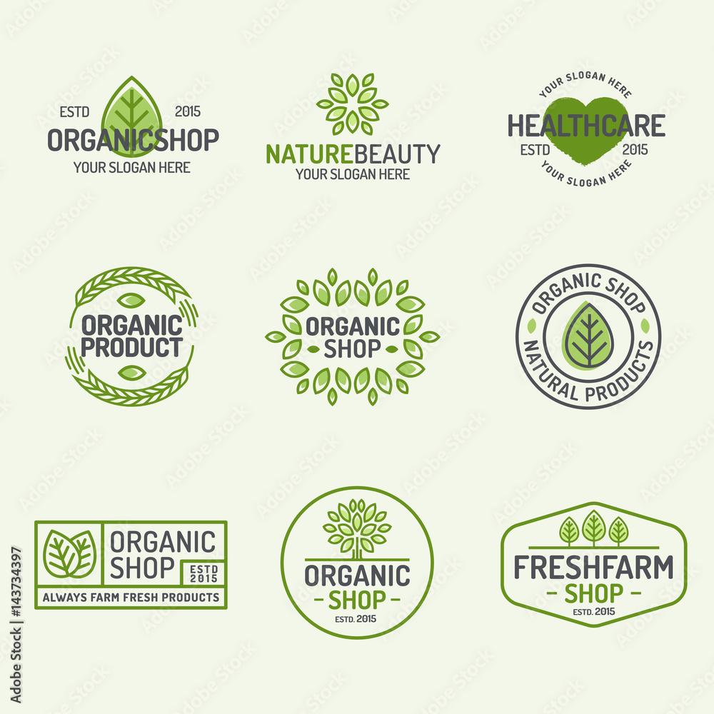 Photo & Art Print Organic shop and fresh farm logo set line