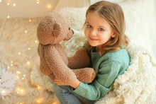 Cute Little Girl With Teddy Be...