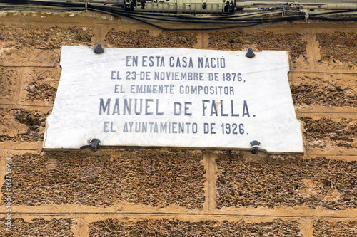 Fotografía  House where born the Spanish composer Manuel de Falla on 23 November 1876, regis