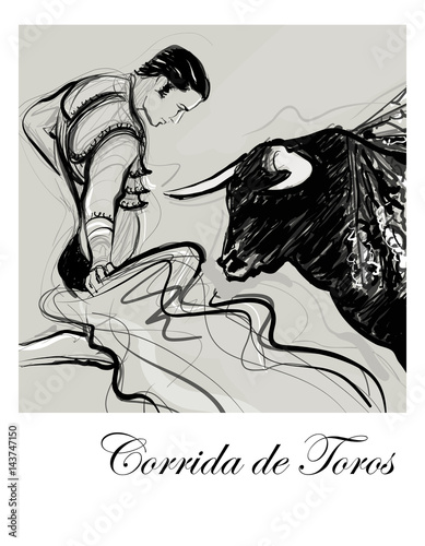 Tuinposter Art Studio Bull charging a bullfighter