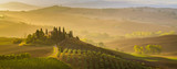 Fairytale, misty morning in the most picturesque part of Tuscany, val de orcia valleys - 143751721