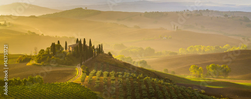 Fotografiet Fairytale, misty morning in the most picturesque part of Tuscany, val de orcia v