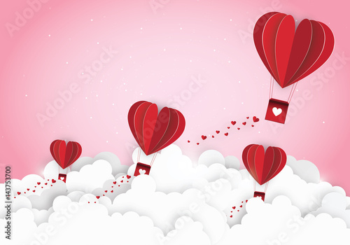 Paper art of concept idea love and valentine day, Origami made hot air. Vector Illustration