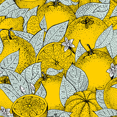 FototapetaSeamless pattern of hand drawn oranges and slices in sketch style. Vector illustration