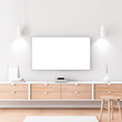 Smart Tv Mockup with white screen hanging on the white wall in modern living room. 3d rendering