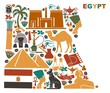 Map of Egypt made of national symbols