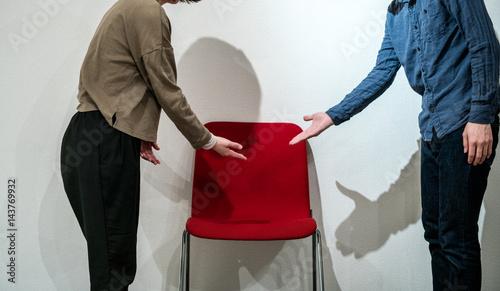 Vászonkép 席の譲り合い