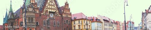 Obraz na płótnie Panorama starego rynku Wrocławia