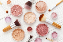 Makeup Powder And Brushes On W...
