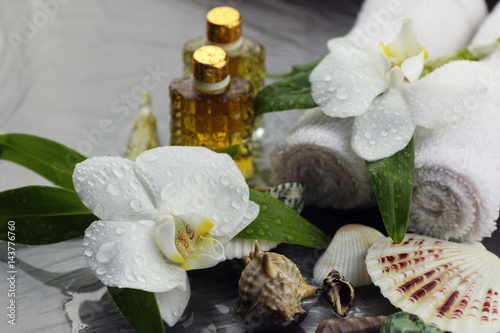 Poster Spa Spa orchid green towel