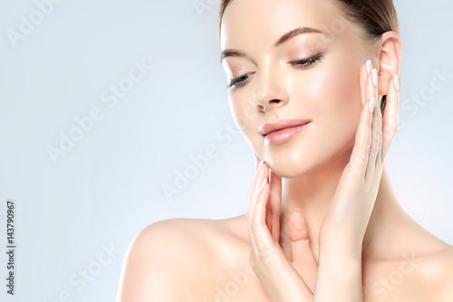 Beautiful Young Woman with Clean Fresh Skin look away Poster