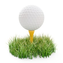 3d Rendering Golf Ball On Yellow Tee And Green Grass Isolated On White