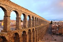 Aqueduct In Segovia In Dusk