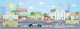 Miasto na zewnątrz ulicy. Amerykańskie miasto z kortem, centrum fitness i autobusem szkolnym, radiowozem i sklepami.