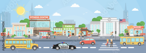 City street exterior. American city with court, fitness center and school bus, police car and stores.