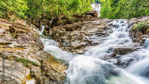 Fototapeten Forest river Waterfall on summer season in Thailand