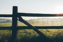 Old Wooden Rural Fence On The Field Early In The Morning