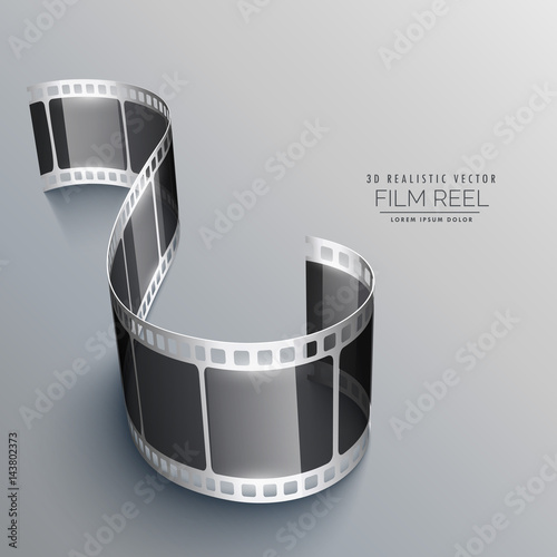 3d film strip on gray background design