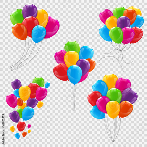 Stampa su Tela Set, Bunches and Groups of Color Glossy Helium Balloons Isolated