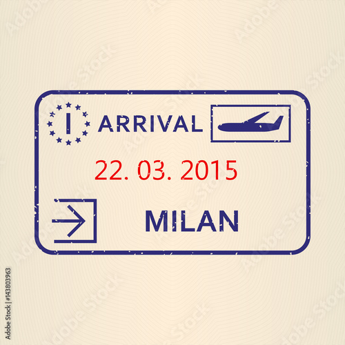 Milan Passport Stamp Travel By Plane Visa Or Immigration Vector Illustration