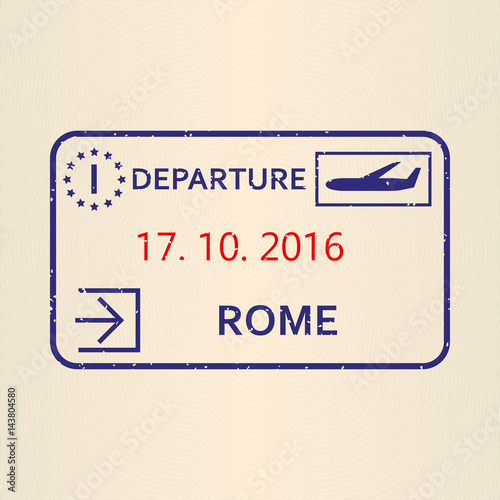 Rome Passport Stamp Travel By Plane Visa Or Immigration Vector Illustration