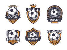 Illustration Of Soccer Logo Set