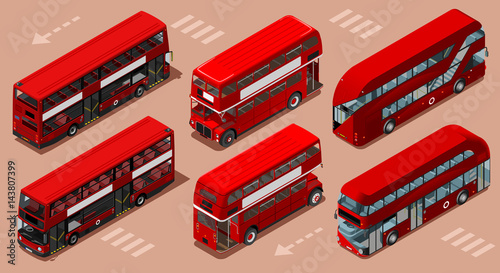 Платно Red bus isolated double decker London UK England isometric vehicle icon set