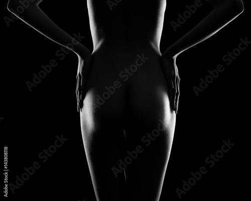 Plakat Idealne ciało kobiety na czarnym tle