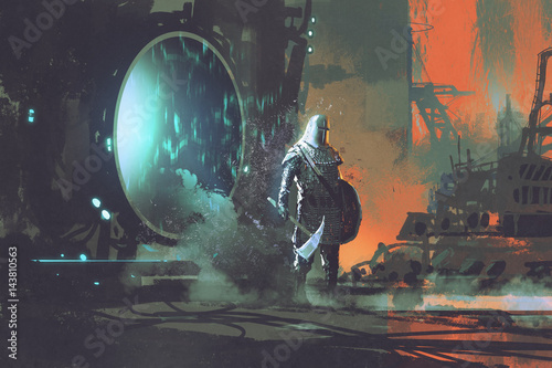 Fotomural the templar knight walking out through futuristic portal, sci-fi concept, illust