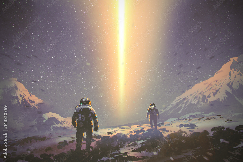 Fototapeta astronauts walking to mystery light beam from the sky, sci-fi concept, illustration painting
