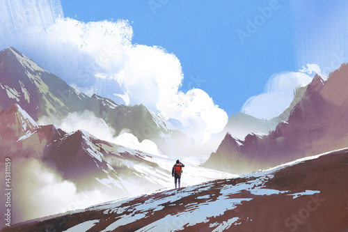 scenery of hiker with backpack looking at mountains, illustration painting