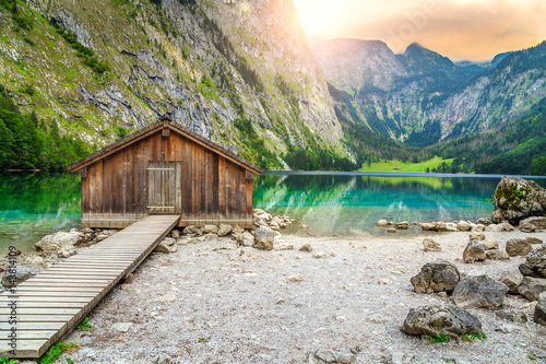 Fotografie, Obraz  Boat dock on Obersee alpine lake, Berchtesgaden, Bavaria, Germany, Europe