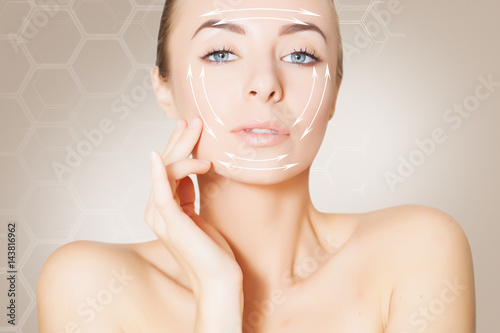 Fototapety, obrazy: blonde  Woman face with marks and arrows on beige