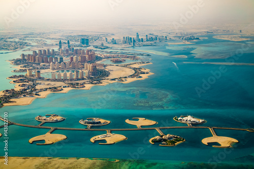 Photo sur Aluminium Moyen-Orient Aerial view of city Doha, capital of Qatar