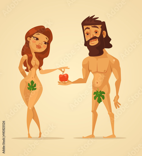 Adam and Eve characters Canvas Print