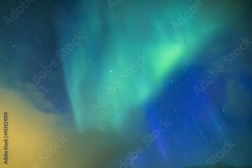 Fényképezés Amazing and Unique Northern Lights Aurora Borealis Over Lofoten Islands in Norway, Over the Polar Circle