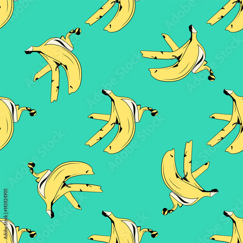 Banana skin seamless pattern pop art style. Vector Fototapeta